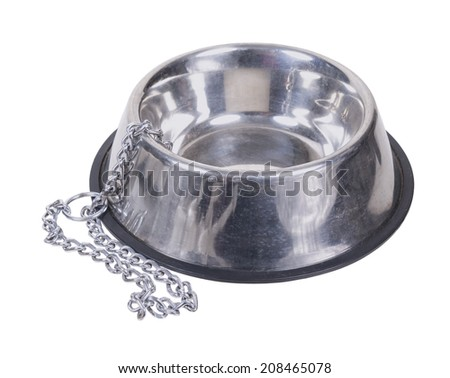 Empty silver dog bowl and chain - path included - stock photo