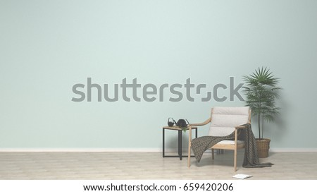 Empty Simple Living Room With Chair In The Background 3D Illustration