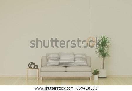 Empty Simple Living Room With Sofa In The Background 3D Illustration