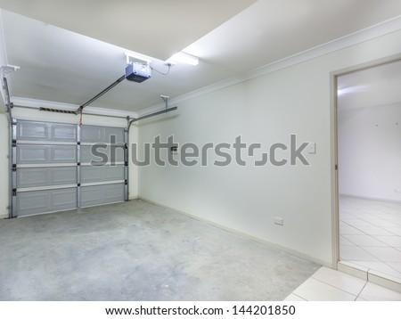 Empty single garage in home - stock photo