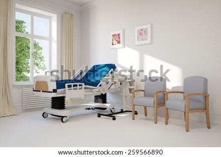 Empty single hospital room with bed in a clinic (3D Rendering) - stock photo