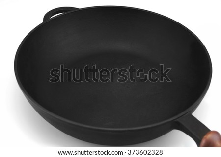 Empty Single Modern Vintage Cast Iron Pan With Wooden Handle Isolated  On White Background, Top View, Close Up - stock photo