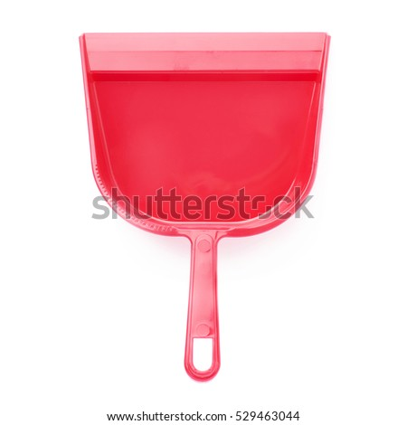 Empty single red plastic scoop isolated over white background