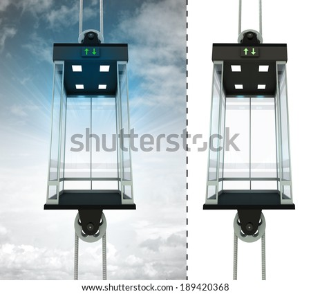 empty sky elevator concept with isolated elevator illustration - stock photo