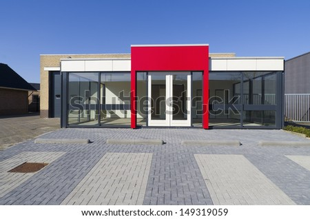 Empty small office building red entrance stock photo edit for Small office entrance design