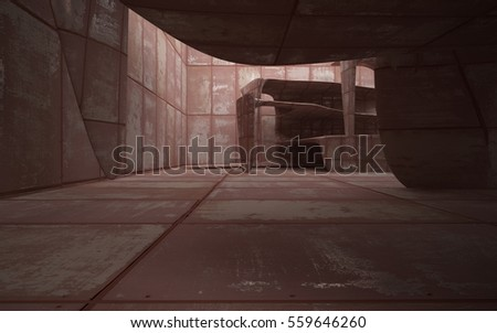 Empty smooth abstract room interior of sheets rusted metal. Architectural background. 3D illustration and rendering