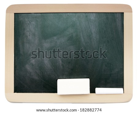 Empty smudged with calk blackboard with wooden frame isolated