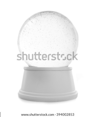Empty snow globe isolated on white