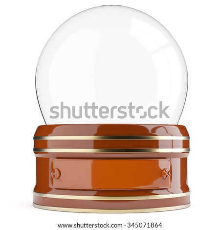 Empty snow globe isolated on white background. 3d render - stock photo