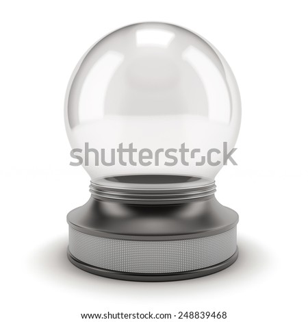 Empty snow globe isolated on white background. 3d render image. - stock photo