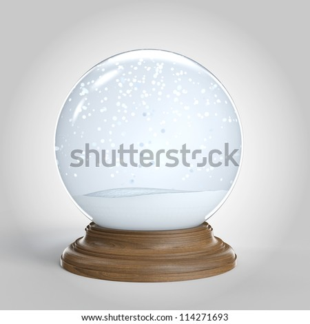 Empty snow globe isolated on white background with copy space for your own content