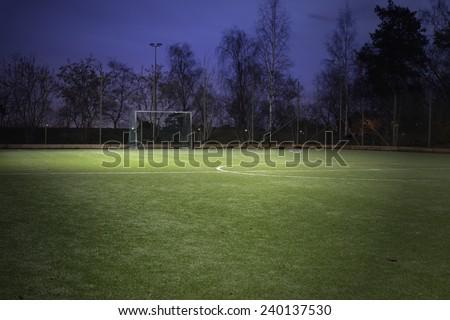 Empty Soccer Field Night Empty Soccer Field at Night