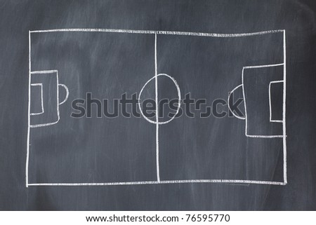 Empty soccer field on a blackboard