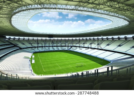 Empty Soccer stadium with open ceiling. Photo realistic 3d illustration.   - stock photo