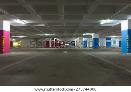 Empty Space a Parking Lot in building  hotel is business district. - stock photo