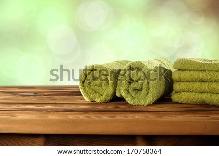 empty space and towels of green  - stock photo