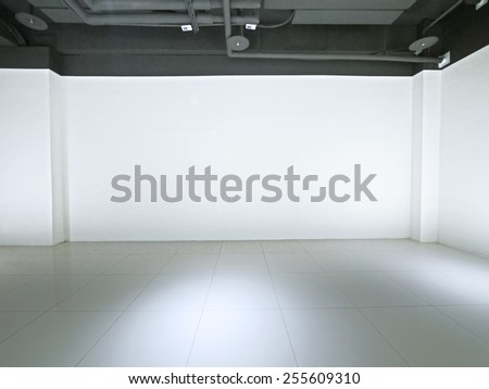 Empty space and white wall