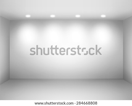 Empty space - empty wall in a room with light spots.