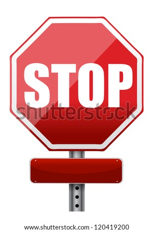 empty space on a stop sign illustration design over white
