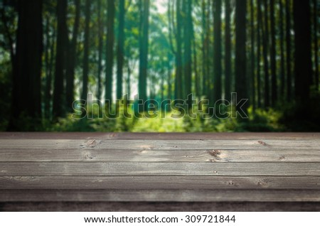 Empty space on a wooden table. Forest in the background