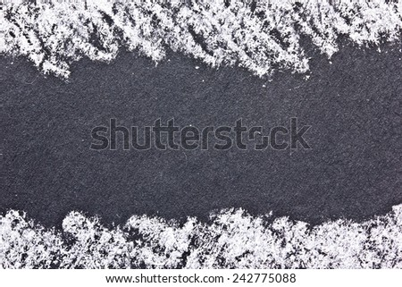Empty space on black board with white chalk frame. - stock photo