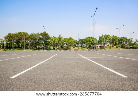 Empty space parking lot outdoor in public park. - stock photo
