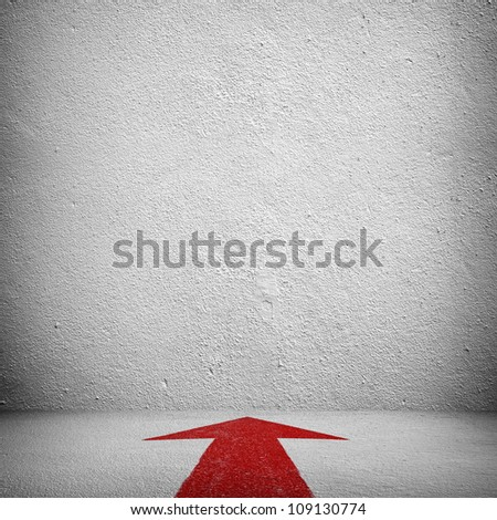empty space with red arrow - stock photo