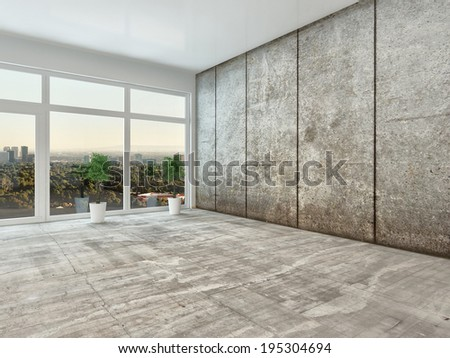 Empty spacious modern interior room with floor to ceiling view window and grey cement wall unfurnished except for two houseplants - stock photo