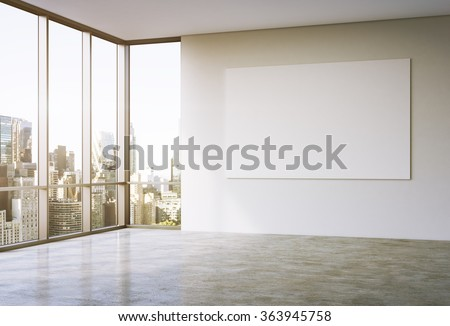 Empty spacious office in a skyscraper, French window to the left, New York view, big white board on the white wall. Filter.  3D rendering. - stock photo