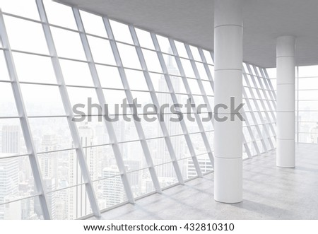 Empty spacious office interior with columns, concrete floor and panoramic framed windows with New York city view. 3D Rendering