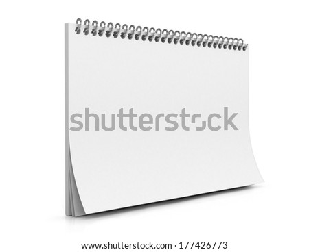 empty spiral notebook isolated on white background