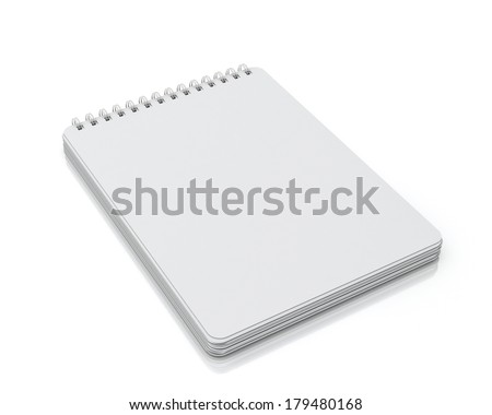 empty spiral notebook lying isolated on white background  - stock photo