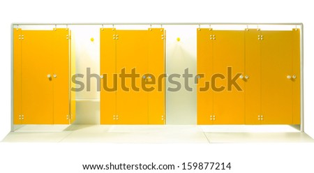 Empty sport dressing room isolated on white background