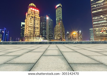 Empty square in front of the modern architecture ?in Shanghai, China