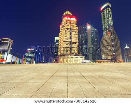 Empty square in front of the modern architecture ?in Shanghai, China - stock photo