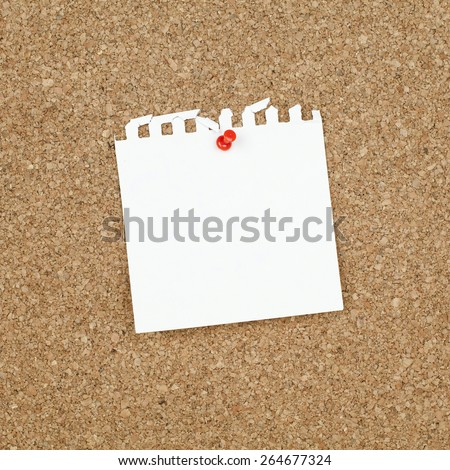 Empty Square Note Paper Pinned on Cork Bulletin Board - stock photo