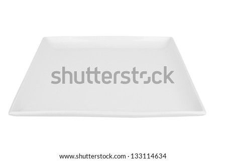empty square plate isolated on white
