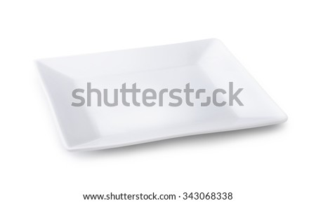 Empty square plate isolated on white - stock photo