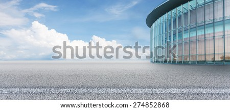 Empty square with sky and building as background. - stock photo