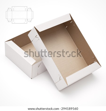 Empty Stack Able Tray Box with Blueprint Die Line