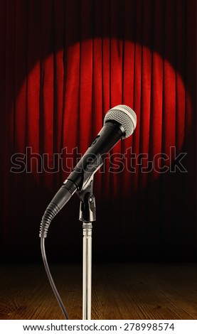 Empty stage and microphone before performance - stock photo