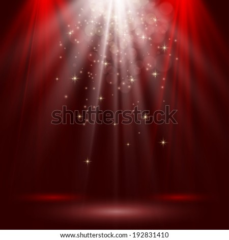 Empty stage lit with lights on red background Raster version - stock photo
