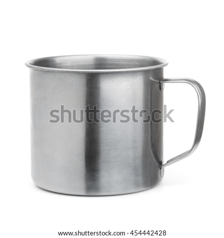 Empty stainless steel cup isolated on white - stock photo