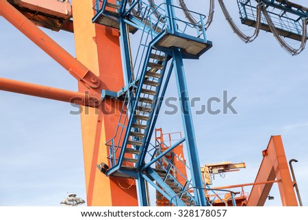 Empty stairway to Crane that used in seaport to container loading for design