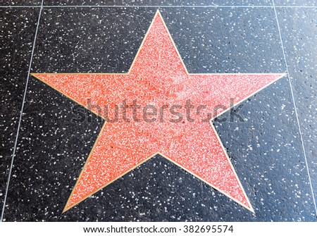 empty star on hollywood's walk of fame, 11 February 2016 - stock photo