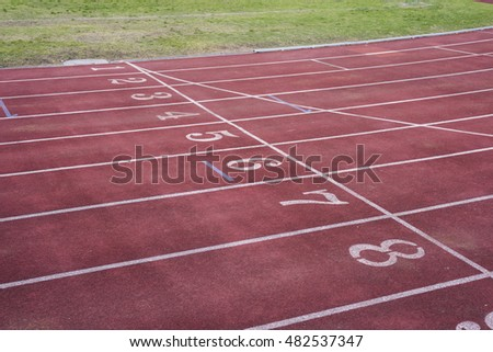 Empty Start Line with Numbers on a Running Track