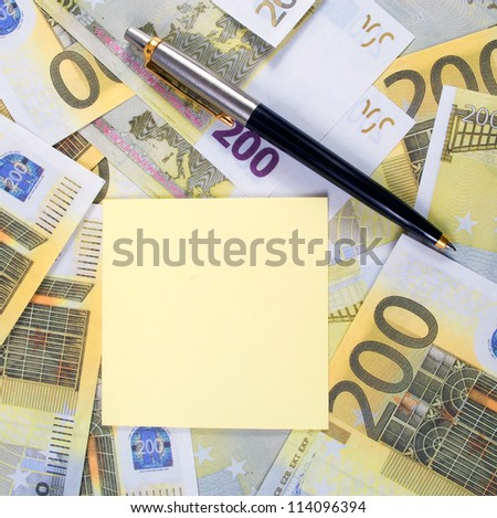 Empty sticker for notes on banknotes 200 euros - stock photo