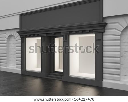 Empty store showcase - stock photo