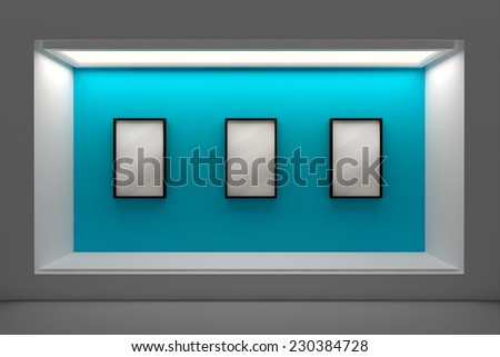 Empty storefront or podium with lighting and a big window - stock photo