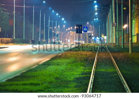 Empty street at night in the city. - stock photo